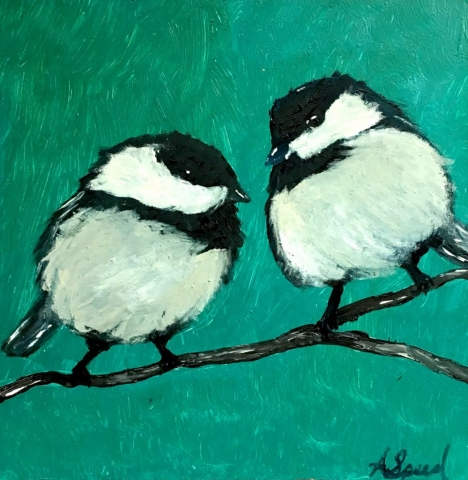 A painting of birds, my favorite creatures, with a distinct air of disgruntlement. Oil on wood board. 2017.