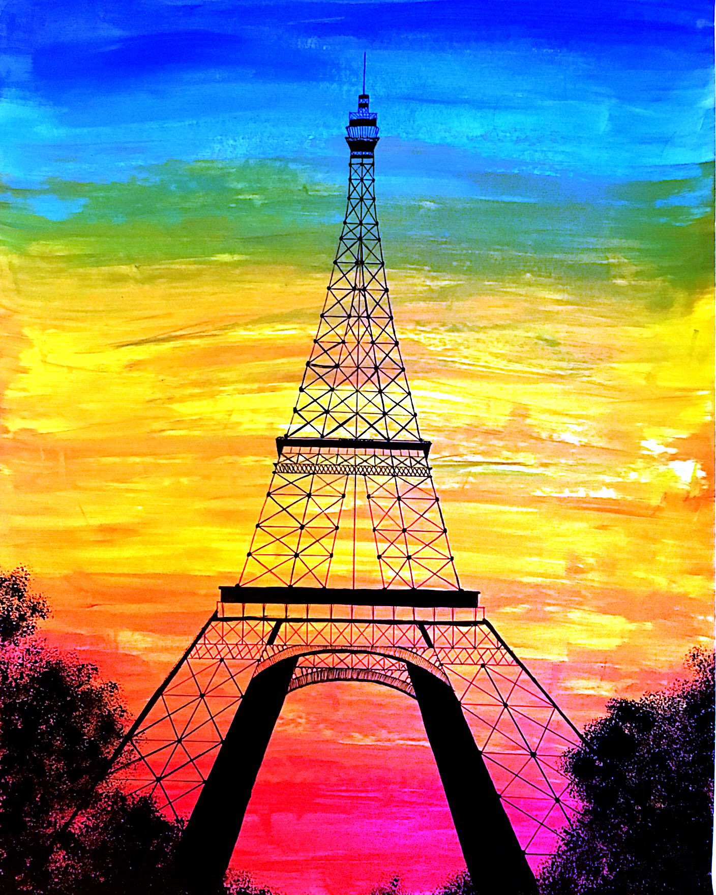 A painting of the most famous landmark of my favorite country. Acrylic paint on paper. 2018.