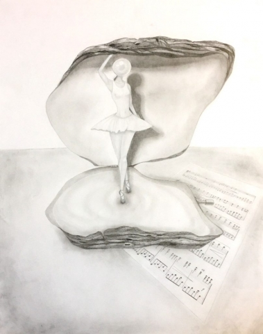 A creative blend of a music box and a clam. Graphite and white charcoal on paper.