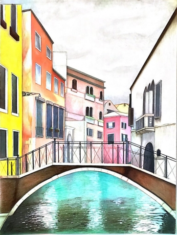 A hand-drawn rendition of a photo I took in Venice, Italy. Colored Pencil on paper. 2015.
