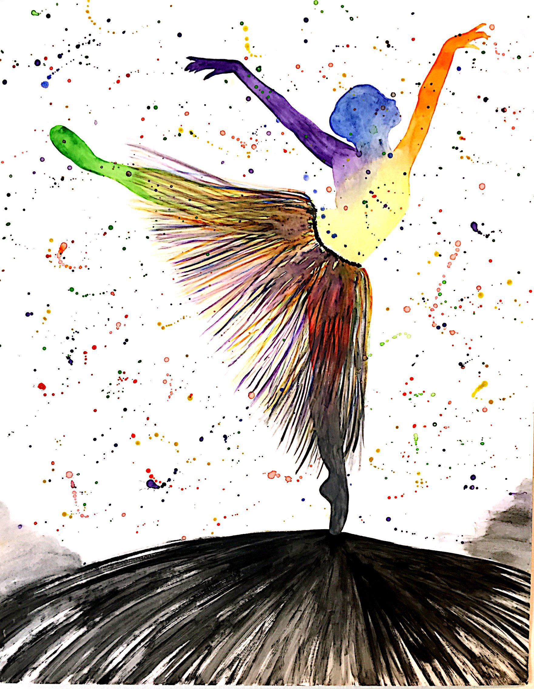 An image of creativity breaking out of the mundane and embracing individuality. Watercolor on paper. 2016.