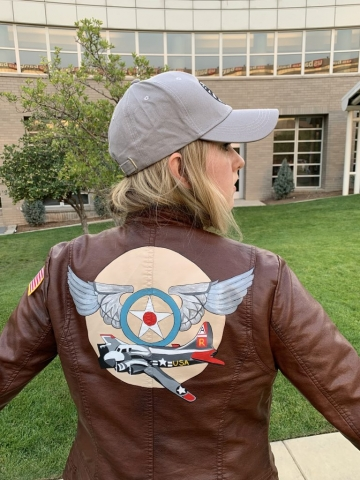 Hand-painted bomber jacket from the movie, Captain Marvel